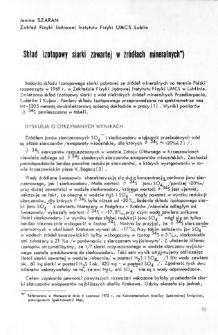 Skład izotopowy siarki zawartej w źródłach mineralnych = Isotopic composition of sulphur included in mineral sources