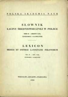 Słownik łaciny średniowiecznej w Polsce. T. 2 z. 3 (11), Centenarius - claudicanter