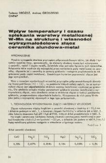 Wpływ temperatury i czasu spiekania warstwy metalicznej W-Mn na strukturę i własności wytrzymałościowe złącz ceramika alundowa-metal