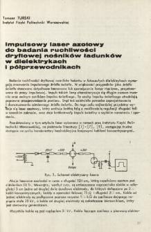 Impulsowy laser azotowy do badania ruchliwości dryftowej nośników ładunków w dielektrykach i półprzewodnikach = An impulse of nitrogen laser an examination of charge carriers drift mobility in dielectrics and semiconductors