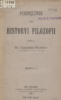 Podręcznik do historyi filozofii. Z. 1