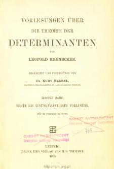 Vorlesungen über die Theorie der Determinanten. 1 Bd., Erste bis einundzwanzigste Vorlesung