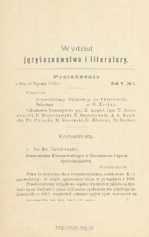 Sprawozdania z Posiedzeń Towarzystwa Naukowego Warszawskiego, Wydział I, Językoznawstwa i literatury. Rocznik 5 (1912)