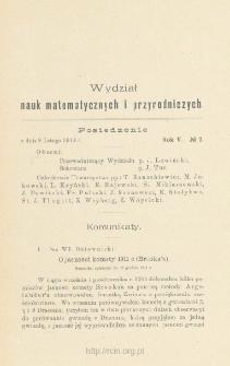 Sprawozdania z Posiedzeń Towarzystwa Naukowego Warszawskiego, Wydział III, Nauk Matematycznych i Przyrodniczych Rok V. No 2.