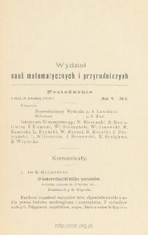 Sprawozdania z Posiedzeń Towarzystwa Naukowego Warszawskiego, Wydział III, Nauk Matematycznych i Przyrodniczych Rok V. No 4.