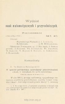 Sprawozdania z Posiedzeń Towarzystwa Naukowego Warszawskiego, Wydział III, Nauk Matematycznych i Przyrodniczych Rok V. No 5.