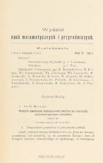 Sprawozdania z Posiedzeń Towarzystwa Naukowego Warszawskiego, Wydział III, Nauk Matematycznych i Przyrodniczych Rok V. No 8.
