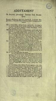 Addytament Do Artykułu pierwszego Ułożenia Rady Nieustaiącey : Excerpta z Konstytucyi Anni 1775. sciągaiące się do obierania Konsyliarzow y Marszałka Rady Nieustaiącey tudzież Kommissarzy skarbowych
