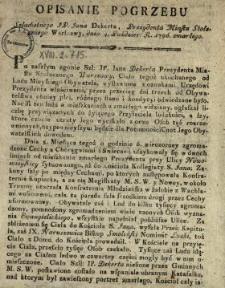 Opisanie Pogrzebu Szlachetnego JP. Jana Dekerta, Prezydenta Miasta Stołecznego Warszawy, dnia 4. Paździer. R. 1790. zmarłego