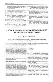 Krótkie wprowadzenie do tematyki ogniw fotoelektrochemicznych