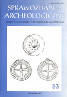 Sprawozdania Archeologiczne T. 53 (2001), Spis treści