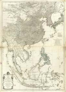 Seconde Partie De La Carte D'Asie Contenant La Chine Et Partie De La Tartarie, L'Inde Au De La Du Gnge Les Isles Sumatra, Java, Borneo, Moluques, Philippines, Et du Japon