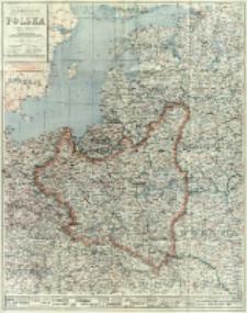 Polska i kraje sąsiednie : z oznaczeniem granic ostatecznych, z wykazem miejscowości o nazwach urzędowo zmienionych, z podaniem wszystkich rzek, linji kolejowych, dróg bitych i bocznych