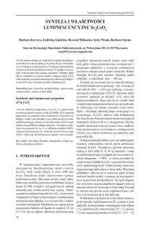 Synteza i właściwości luminescencyjne Sr2CeO4 = Synthesis and luminescent properties of Sr2CeO4