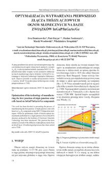 Optymalizacja wytwarzania pierwszego złącza trójzłączowych ogniw słonecznych na bazie związków InGaP/InGaAs/Ge = Optimization of the technology of manufacturing the first junction of triple junction solar cells based on InGaP/InGaAs/Ge compounds