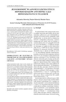 Jednorodność własności elektrycznych monokryształów antymonku galu domieszkowanych tellurem