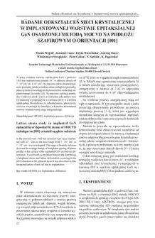 Badanie odkształceń sieci krystalicznej w implantowanej warstwie epitaksjalnej GaN osadzonej metodą MOCVD na podłożu szafirowym o orientacji [001] = Lattice strain study in implanted GaN epitaxial layer deposited by means of MOCVD technique on [001] oriented sapphire substrate