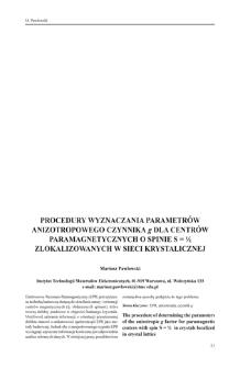 Procedury wyznaczania parametrów anizotropowego czynnika g dla dentrów paramagnetycznych o spinie S=1/2 zlokalizowanych w sieci krystalicznej
