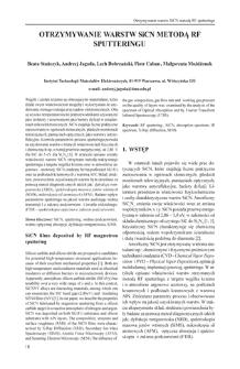 Otrzymywanie warstw SiCN metoda RF sputteringu