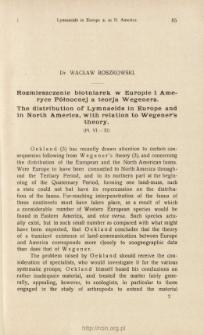 Rozmieszczenie błotniarek w Europie i Ameryce Północnej a teorja Wegenera