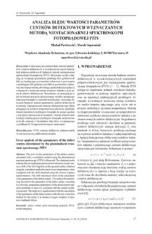 Analiza błędu wartości parametrów centrów defektowych wyznaczanych metodą niestacjonarnej spektroskopii fotoprądowej PITS