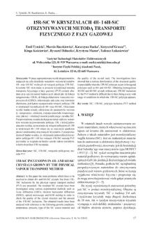 15R-SiC w kryształach 4H- i 6H-SiC otrzymywanych metodą transportu fizycznego z fazy gazowej = 15R-SiC inclusions in 4H-and 6H-SiC crystals grown by the physical vapour transport method