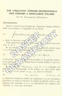 Sur l'équation intégro-différentielle non linéaire à singularité polaire