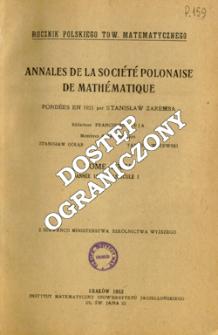 Annales de la Société Polonaise de Mathématique T. 24 (1951), Fascicule I, Table of contents and extas