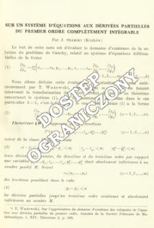 Sur un système d'équations aux dérivées partielles du pemier ordre complètement intégrable