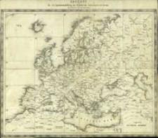General-Karte von Europa in 25 Blättern. Skelett für Zusammenstellung der Blätter der Generalkarte von Europa mit Distanzen in deutschen Meilen