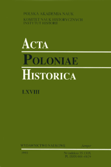 Acta Poloniae Historica. T. 68 (1993), Title pages, Contents