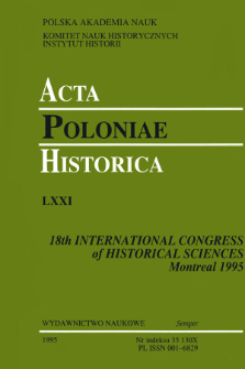 Acta Poloniae Historica. T. 71 (1995), Title pages, Contents