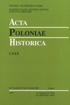 Acta Poloniae Historica. T. 80 (1999), Title pages, Contents