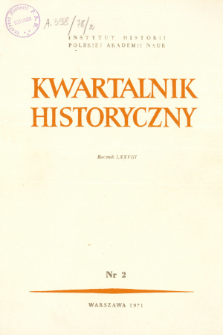 Kwartalnik Historyczny R. 78 nr 2 (1971), Title pages, Contents