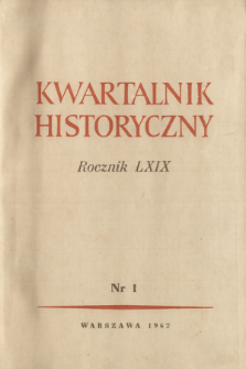 Kwartalnik Historyczny R. 69 nr 1 (1962), Title pages, Contents