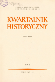 Kwartalnik Historyczny R. 80 nr 1 (1973), Title pages, Contents