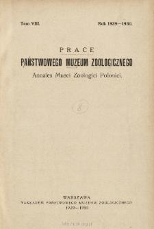 Prace Państwowego Muzeum Zoologicznego ; t. 8 - Spis treści