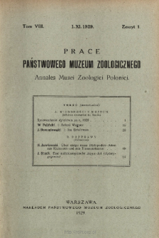 Prace Państwowego Muzeum Zoologicznego ; t. 8, z. 1 - Spis treści