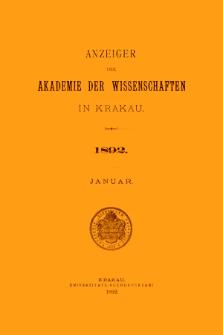 Anzeiger der Akademie der Wissenschaften in Krakau. No 1 Januar (1892)