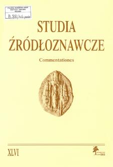 Akta notarialne jako źródło historyczne : metodologia i kierunki badań, postulaty badawcze