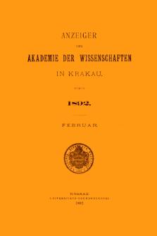 Anzeiger der Akademie der Wissenschaften in Krakau. No 2 Februar (1892)