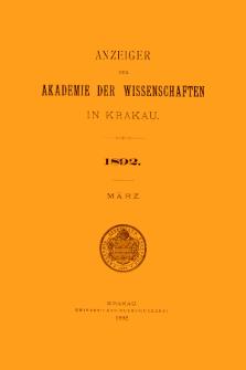 Anzeiger der Akademie der Wissenschaften in Krakau. No 3 März (1892)