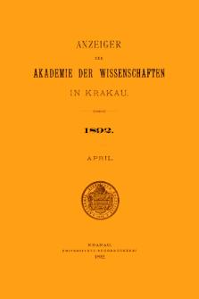Anzeiger der Akademie der Wissenschaften in Krakau. No 4 April (1892)