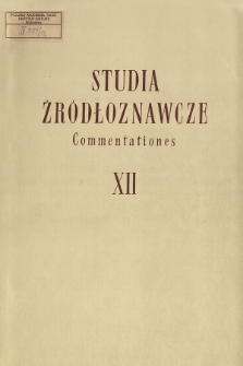 Studia Źródłoznawcze = Commentationes T. 12 (1967), Title pages, Contents