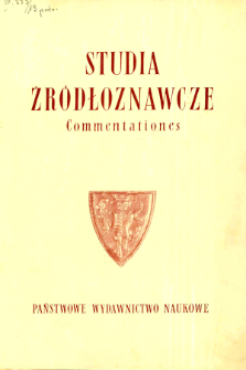 Studia Źródłoznawcze = Commentationes T. 13 (1968), Title pages, Contents