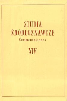 Studia Źródłoznawcze = Commentationes T. 14 (1969), Strony tytułowe, spis treści