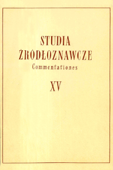 Studia Źródłoznawcze = Commentationes. T. 15 (1970), Title pages, Contents