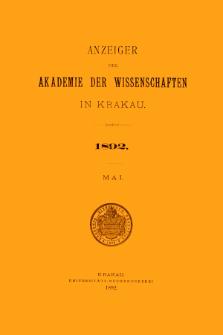Anzeiger der Akademie der Wissenschaften in Krakau. No 5 Mai (1892)