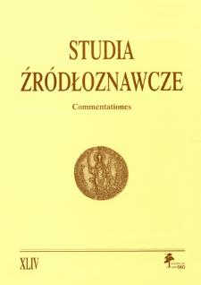 Studia Źródłoznawcze = Commentationes T. 44 (2006), Title pages, Contents