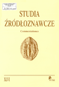 Studia Źródłoznawcze = Commentationes T. 46 (2009), Title pages, Contents